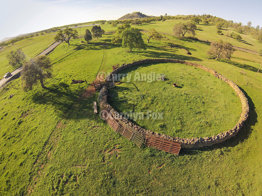 Crimea stone corral (round corral) near the Red Hills, Tuolumne County, Calif. Photographed from the air using a sUAV/quadcopter.