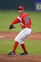 Batavia Muckdogs pitcher Robert Ravago #34 during a game against the Auburn Doubledays on June 18, 2013 at Dwyer Stadium in Batavia, New York.  Batavia defeated Auburn 10-2.  (Mike Janes/Four Seam Images)