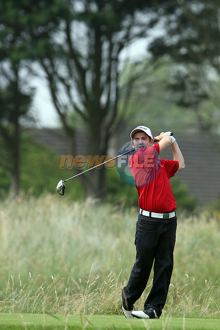 Zack Galliford (WALES) on the 4th tee on the Final Day at the 2012 Boys Home Internationals at Co.Louth Golf Club in Baltray, Co.Louth...(Photo credit should read Jenny Matthews/NEWSFILE)...