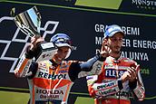 June 11th 2017, Barcelona Circuit, Montmelo, Catalunya, Spain; MotoGP Grand Prix of Catalunya, Race Day; 2nd placed Marc Marquez (Repsol Honda) celebrates with winner Andrea Dovizioso (Ducati)