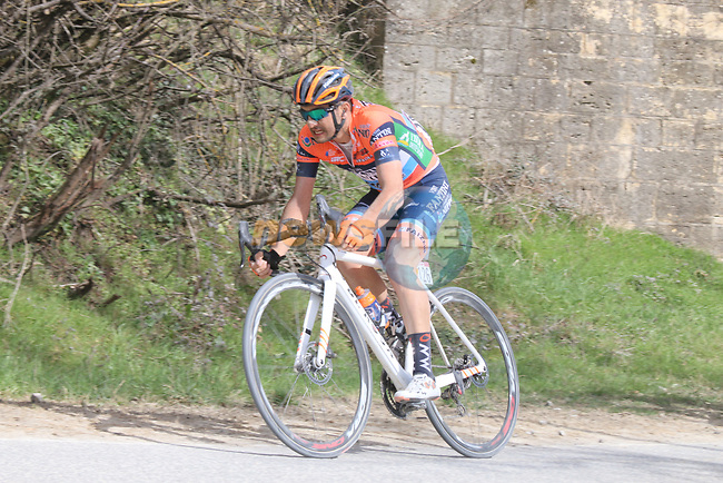 The peloton including Juan Jose Lobato (ESP) Nippo-Vini Fantini-EUR.OV. on sector 5 Lucignano d'Asso during Strade Bianche 2019 running 184km from Siena to Siena, held over the white gravel roads of Tuscany, Italy. 9th March 2019.<br /> Picture: Seamus Yore | Cyclefile<br /> <br /> <br /> All photos usage must carry mandatory copyright credit (© Cyclefile | Seamus Yore)