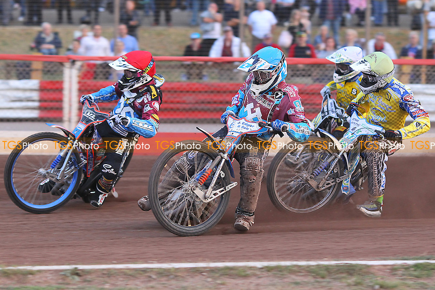 Heat 4: Watt (red), Lawson (blue), Woodward (white) and Lahti - Lakeside Hammers vs Eastbourne Eagles - Sky Sports Elite League Speedway at Arena Essex Raceway, Purfleet - 09/08/13 - MANDATORY CREDIT: Gavin Ellis/TGSPHOTO - Self billing applies where appropriate - 0845 094 6026 - contact@tgsphoto.co.uk - NO UNPAID USE