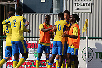 Lionel Stone of Haringe) scores and celebrate during Haringey Borough vs Herne Bay, Emirates FA Cup Football at Coles Park Stadium on 7th September 2019