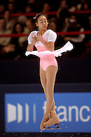 November 19, 2005; Paris, France; Figure skating star MAO ASADA of Japan skates to gold in ladies figure skating at Trophee Eric Bompard, ISU Paris Grand Prix competition.  Asada is just 15 years old and not eligible for the Torino 2006 Olympics, yet still a bright hope in Japanese figure skating for championships.<br />Mandatory Credit: Tom Theobald/<br />Copyright 2005 Tom Theobald