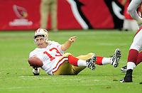 Sept. 13, 2009; Glendale, AZ, USA; San Francisco 49ers quarterback (13) Shaun Hill after being sacked by the Arizona Cardinals at University of Phoenix Stadium. San Francisco defeated Arizona 20-16. Mandatory Credit: Mark J. Rebilas-