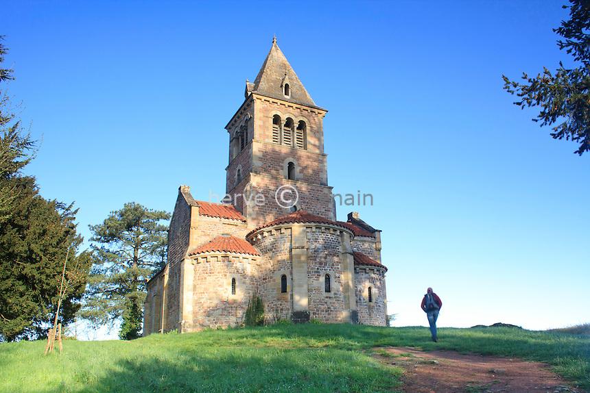 France, Saône-et-Loire (71), Saint-Racho, montagne de Dun, chapelle de Dun // France, Saône-et-Loire, Saint-Racho, mountain of Dun, chapel of Dun