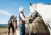 Marsha Daughenbaugh on her ranch the near Steamboat Springs, Colorado, Thursday, August 13, 2015. As part of the 2015 Colorado Water Plan, the North Platte River Basin has called for the use of more irrigation and farming.<br /> <br /> Photo by Matt Nager