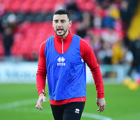 Lincoln City's James Wilson during the pre-match warm-up<br /> <br /> Photographer Andrew Vaughan/CameraSport<br /> <br /> The EFL Sky Bet League Two - Lincoln City v Port Vale - Tuesday 1st January 2019 - Sincil Bank - Lincoln<br /> <br /> World Copyright &copy; 2019 CameraSport. All rights reserved. 43 Linden Ave. Countesthorpe. Leicester. England. LE8 5PG - Tel: +44 (0) 116 277 4147 - admin@camerasport.com - www.camerasport.com