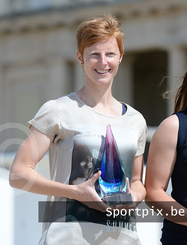 20170604 – OOSTENDE , BELGIUM : Best Belgian Female player Lien Mermans pictured during the 3nd edition of the Sparkle award ceremony , Sunday 4 June 2017 , in Oostende . The Sparkle  is an award for the best female soccer player in the Belgian Superleague and 1st division during the season 2016-2017 comparable to the Golden Shoe or Boot / Gouden Schoen / Soulier D'or for Men in Belgium . PHOTO SPORTPIX.BE | DAVID CATRY