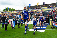 Dave Attwood and the rest of the Bath Rugby team run onto the field. Gallagher Premiership match, between Bath Rugby and Wasps on May 5, 2019 at the Recreation Ground in Bath, England. Photo by: Patrick Khachfe / Onside Images