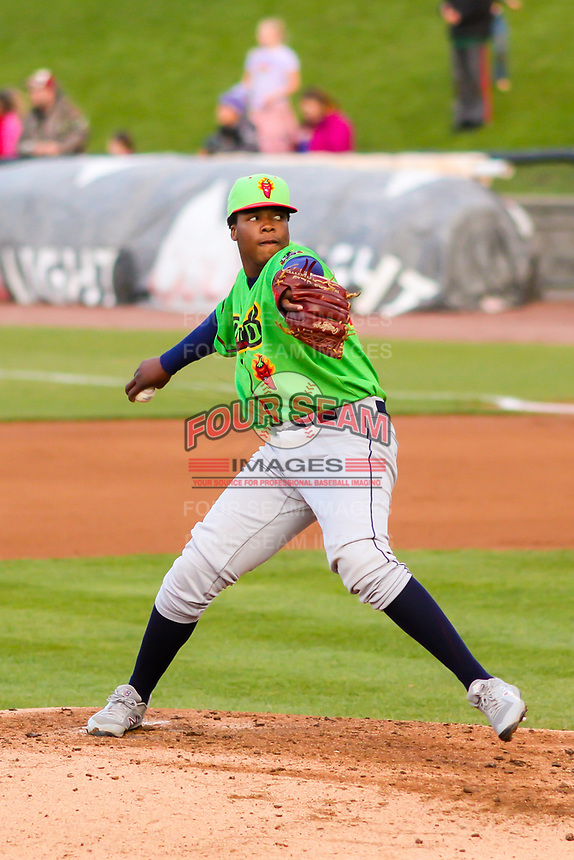 Lake County Captains pitcher Juan Mota (45) delivers a pitch during a Midwest League game against the Wisconsin Timber Rattlers on May 10, 2019 at Fox Cities Stadium in Appleton, Wisconsin. Wisconsin defeated Lake County 5-4. (Brad Krause/Four Seam Images)