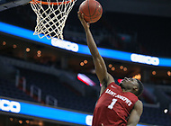 Washington, DC - March 10, 2018: Saint Joseph's Hawks guard Shavar Newkirk (1) makes a layup during the Atlantic 10 semi final game between Saint Joseph's and Rhode Island at  Capital One Arena in Washington, DC.   (Photo by Elliott Brown/Media Images International)