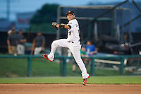 Frederick Keys shortstop Erick Salcedo (19) throws to first base during a game against the Carolina Mudcats on June 4, 2016 at Nymeo Field at Harry Grove Stadium in Frederick, Maryland.  Frederick defeated Carolina 5-4 in eleven innings.  (Mike Janes/Four Seam Images)