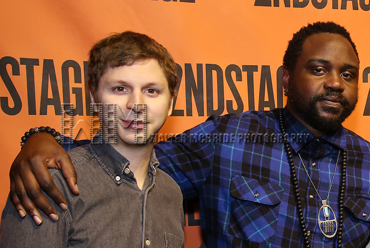 Michael Cera and Brian Tyree Henry backstage at  the Second Stage Theater Broadway lights up the Hayes Theatre at the Hayes Theartre on February 5, 2018 in New York City.