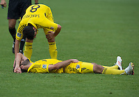 July 20, 2013: Columbus Crew midfielder Matias Sanchez #8 attends to Columbus Crew defender/midfielder Agustin Viana #24 during a game between Toronto FC and the Columbus Crew at BMO Field in Toronto, Ontario Canada.<br /> Toronto FC won 2-1.