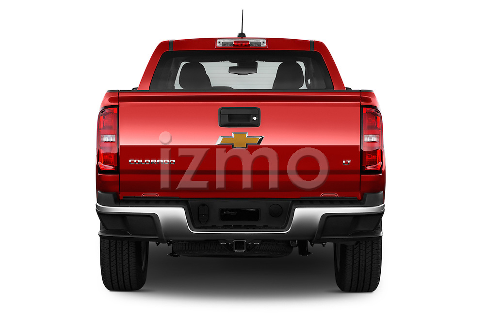 Straight rear view of a 2015 Chevrolet Colorado LT Crew Cab Long Box 4 Door Truck Rear View  stock images