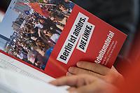 """Landesparteitag des Berliner Landesverband der Partei """"Die Linke."""" am  Samstag den 23. November 2019.<br /> Im Bild: <br /> 23.11.2019, Berlin<br /> Copyright: Christian-Ditsch.de<br /> [Inhaltsveraendernde Manipulation des Fotos nur nach ausdruecklicher Genehmigung des Fotografen. Vereinbarungen ueber Abtretung von Persoenlichkeitsrechten/Model Release der abgebildeten Person/Personen liegen nicht vor. NO MODEL RELEASE! Nur fuer Redaktionelle Zwecke. Don't publish without copyright Christian-Ditsch.de, Veroeffentlichung nur mit Fotografennennung, sowie gegen Honorar, MwSt. und Beleg. Konto: I N G - D i B a, IBAN DE58500105175400192269, BIC INGDDEFFXXX, Kontakt: post@christian-ditsch.de<br /> Bei der Bearbeitung der Dateiinformationen darf die Urheberkennzeichnung in den EXIF- und  IPTC-Daten nicht entfernt werden, diese sind in digitalen Medien nach §95c UrhG rechtlich geschuetzt. Der Urhebervermerk wird gemaess §13 UrhG verlangt.]"""
