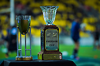 Match and tournament trophies on display before the Rugby Championship rugby union match between the New Zealand All Blacks and South Africa Springboks at Westpac Stadium in Wellington, New Zealand on Saturday, 27 July 2019. Photo: Dave Lintott / lintottphoto.co.nz