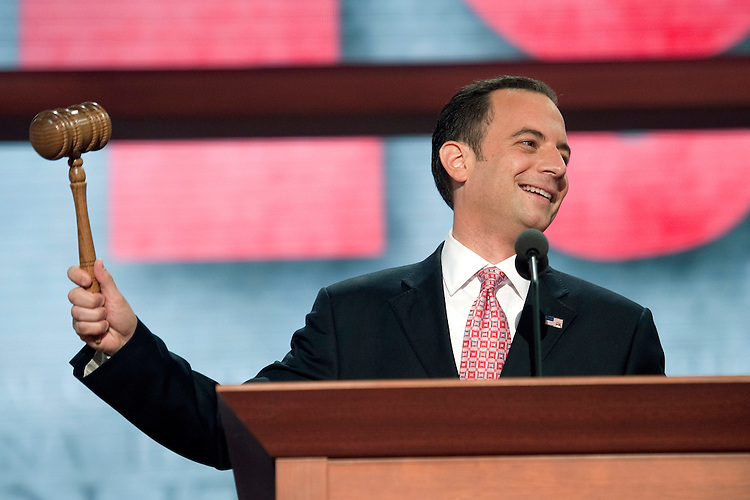 UNITED STATES - AUGUST 27: RNC Chairman Reince Priebus officially starts the 2012 Republican National Convention. The convention went into immediately recess until Tuesday due to Tropical Storm Isaac. (Photo By Chris Maddaloni/CQ Roll Call)