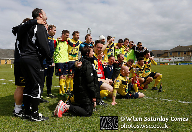 Aberystwyth Town 1 Newtown 2, 17/05/2015. Park Avenue, Europa League Play Off final. Newtown players and staff celebrate with the Play Off winners trophy. Aberystwyth finished 14 points above Newtown in the Welsh Premier League, but were beaten 1-2 in the Play Off Final. Photo by Paul Thompson.