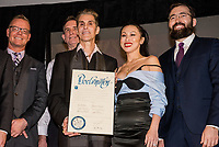LAS VEGAS, NV - March 13, 2018: ***HOUSE COVERAGE***  Sean Swanger, Ed Jones, Perry Farrell, Etty Farrell, Serik Kushenov pictured as Lollapalooza Creator Perry Farrell, Cary Granat and Ed Jones of Immersive Artistry and Caesars Entertainment join forces for Kind Heaven and Unveil plans to the media at The Line Vortex in Las Vegas on March 13, 2018. . Credit: GDP Photos/ MediaPunch
