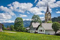 Austria, Styria, Ramsau am Dachstein: village church in Ramsau-Ort, at background Schladming Tauern mountains | Oesterreich, Steiermark, Ramsau am Dachstein: evangelische Kirche in Ramsau-Ort, im Hintergrund die Schladminger Tauern