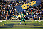 Sept 13, 2014; The Leprechaun waves the flag after a Notre Dame touchdown against Purdue in the Shamrock Series football game at Lucas Oil Stadium in Indianapolis. (Photo by Barbara Johnston/University of Notre Dame)
