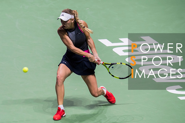 Caroline Wozniacki of Denmark hits a shot in her singles match against Caroline Garcia of France during the BNP Paribas WTA Finals Singapore presented by SC Global at Singapore Sports Hub on 27 October 2017 in Singapore. Photo by Victor Fraile / Power Sport Images