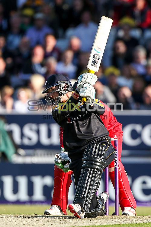 Picture by Alex Whitehead/SWpix.com - 05/06/2015 - Cricket - NatWest T20 Blast - Yorkshire Vikings v Lancashire Lightning - Headingley Cricket Ground, Leeds, England - Yorkshire's Joe Root hits out.