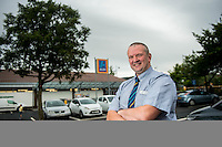 Thursday  28 July 2014<br /> Pictured: Store Manager Paul Bibby<br /> Re: ALDI Merthyr Tydfill Grand Re-opening