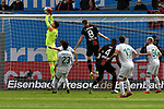 17.03.2019, BayArena, Leverkusen, GER, DFL, 1. BL, Bayer 04 Leverkusen vs SV Werder Bremen, DFL regulations prohibit any use of photographs as image sequences and/or quasi-video<br /> <br /> im Bild Jini Pavlenka (#1, SV Werder Bremen) pariert Torchance von Lars Bender (#8, Bayer 04 Leverkusen) <br /> <br /> Foto © nph/Mauelshagen