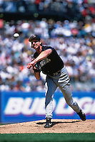 SAN FRANCISCO, CA - Randy Johnson of the Arizona Diamondbacks pitches against the San Francisco Giants during a game at AT&T Park in San Francisco, California on May 28, 2001. Photo by Brad Mangin