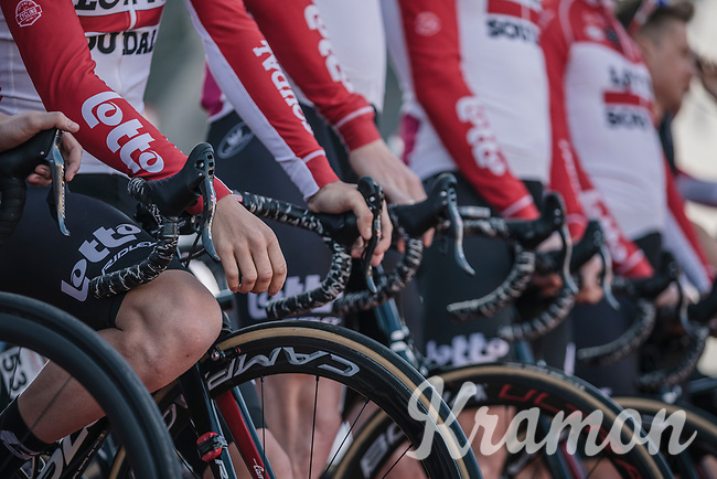 Team Lotto Soudal at the pre race team presentation.. <br /> <br /> <br /> 53th Amstel Gold Race (1.UWT)<br /> 1 Day Race: Maastricht > Berg en Terblijt (263km)