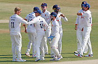 Essex players celebrate taking the wicket of Gus Atkinson during Essex CCC vs Surrey CCC, Bob Willis Trophy Cricket at The Cloudfm County Ground on 9th August 2020