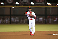 Scottsdale Scorpions second baseman Shed Long (6), of the Cincinnati Reds organization, during an Arizona Fall League game against the Salt River Rafters at Scottsdale Stadium on October 12, 2018 in Scottsdale, Arizona. Scottsdale defeated Salt River 6-2. (Zachary Lucy/Four Seam Images)