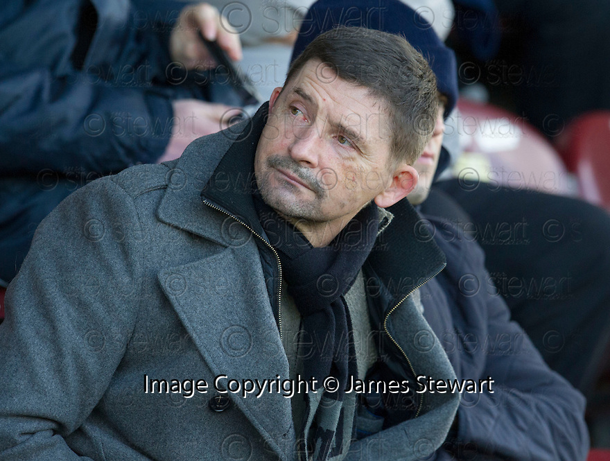 Former Morton manager Allan Moore who is in the frame to take over the manager's position at Stenhousemuir takes his seat in the stand at Ochilview Park to watch Stenny take on East Fife.<br /> <br /> <br /> 15/02/2014   jspa023_smuir_v_efife     <br /> Copyright  Pic : James Stewart   <br /> <br /> James Stewart Photography 19 Carronlea Drive, Falkirk. FK2 8DN      Vat Reg No. 607 6932 25   Tel:  +44 (0)7721 416997<br /> E-mail  :  jim@jspa.co.uk   If you require further information then contact Jim Stewart on any of the numbers above........