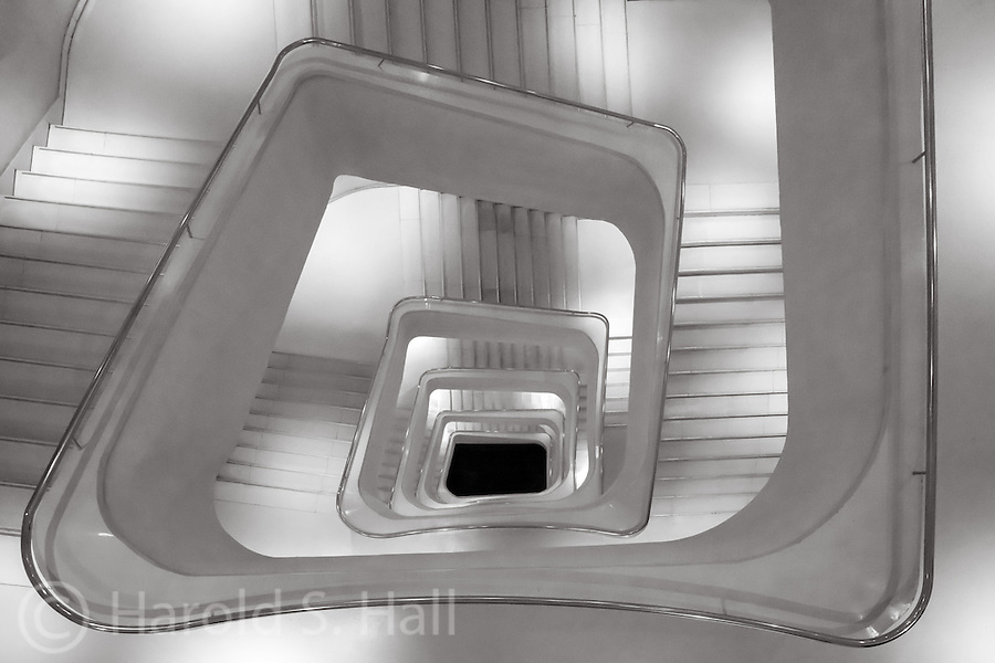 I visited the CaixaForum Museum to photograph the central staircase.  I totally missed the exhibits.  Best I can convey, La Caixa is pronounces Kay-sha.