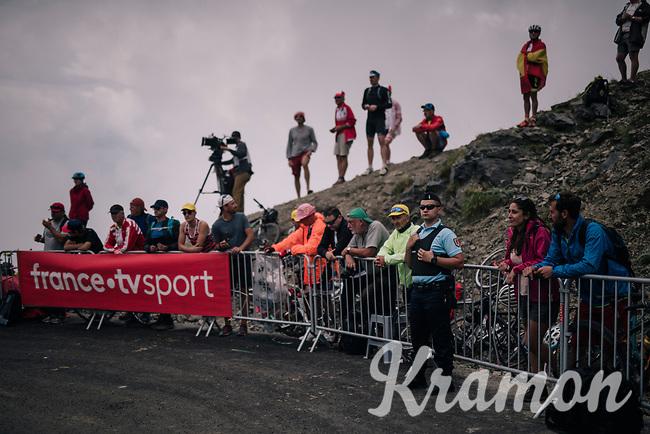waiting for the riders up the brutal Col du Portet (HC/2250m/16km at 8.7%/Souvenir Henri Desgrange) in this historically short stage (only 65km)<br /> <br /> Stage 17: Bagnères-de-Luchon > Saint-Lary-Soulan (65km)<br /> <br /> 105th Tour de France 2018<br /> ©kramon
