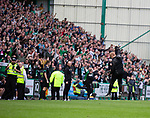 13.05.2018 Hibs v Rangers: Neil Lennon on the pitch