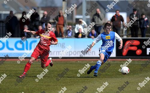 2013-04-07 / Voetbal / seizoen 2012-2013 / KFC Duffel - Everbeur / Dieter Van den Broeck (l. Duffel) met Jonas Rolvink..Foto: Mpics.be