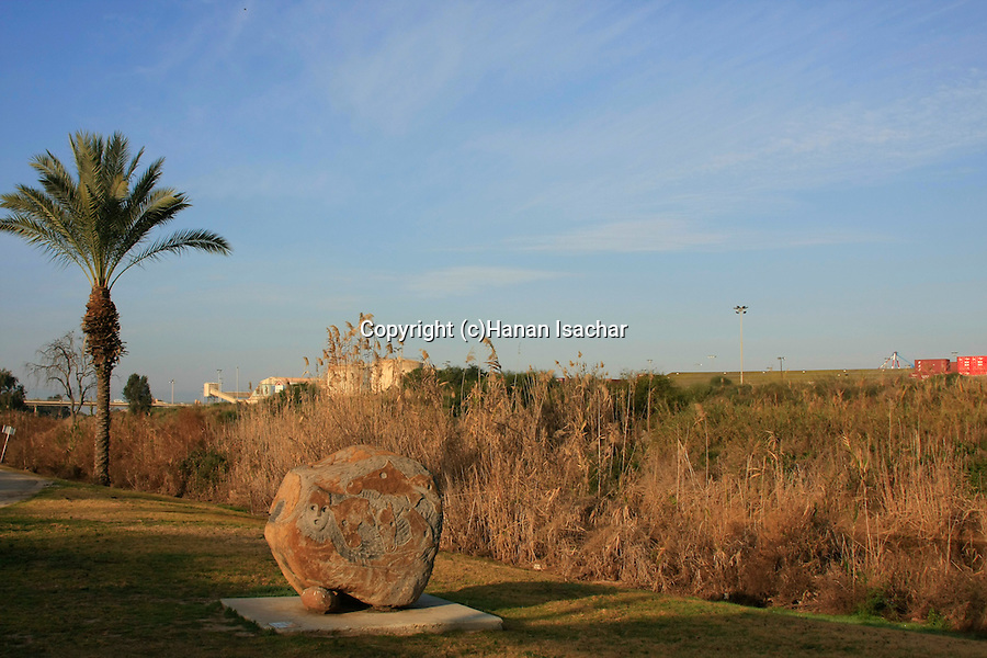 Israel, Southern Coastal Plain. Lachish Park on the southern bank of Lachish stream, Ashdod port is on the opposite bank