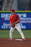 Clearwater Threshers second baseman Luke Williams (9) during a game against the Jupiter Hammerheads on April 9, 2018 at Spectrum Field in Clearwater, Florida.  Jupiter defeated Clearwater 9-4.  (Mike Janes/Four Seam Images)