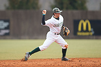 Charlotte 49ers shortstop Luke Gibbs (12) makes a throw to first base against the Akron Zips at Hayes Stadium on February 22, 2015 in Charlotte, North Carolina.  The Zips defeated the 49ers 5-4.  (Brian Westerholt/Four Seam Images)