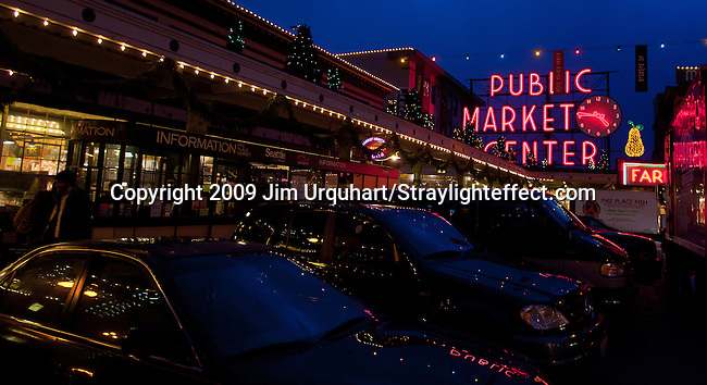 Jim Urquhart/Straylighteffect.com The Pike Place Market in Seattle Washington. 12/22/2009 - Jim Urquhart/Straylighteffect.com