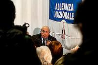 Roma 4  Gennaio 2013.Il candidato alla presidenza della Regione Lazio, Francesco Storace, La Destra, all'inaugurazione del primo comitato elettorale cittadino a suo sostegno sul territorio della Capitale,in via Mirandola al quartiere Appio Latino.