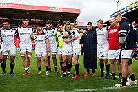 Ian Madigan of Bristol Bears celebrates with team-mate Matt Protheroe in a post-match huddle. Gallagher Premiership match, between Leicester Tigers and Bristol Bears on April 27, 2019 at Welford Road in Leicester, England. Photo by: Patrick Khachfe / JMP