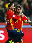 Spain's Sergio Ramos (l) and Diego Costa celebrate goal during FIFA World Cup 2018 Qualifying Round match. March 24,2017.(ALTERPHOTOS/Acero)