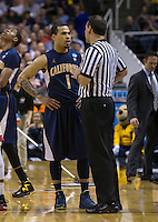 March 21st, 2013: Justin Cobbs talking with official during a time out at HP Pavilion, San Jose, California. California defeated UNLV 64 - 61