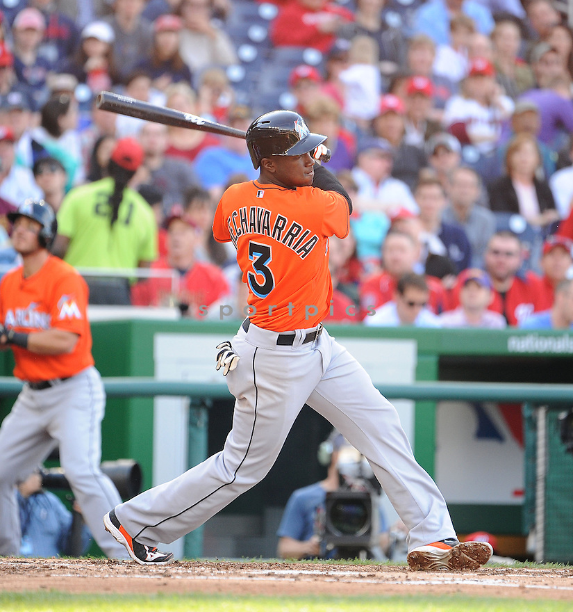 Miami Marlins Adeiny Hechavarria (3) during a game against the Washington Nationals on April 10, 2014 at Nationals Park in Washington DC. The Nationals beat the Marlins 7-1.