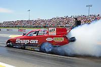 May 19, 2012; Topeka, KS, USA: NHRA funny car driver Cruz Pedregon during qualifying for the Summer Nationals at Heartland Park Topeka. Mandatory Credit: Mark J. Rebilas-